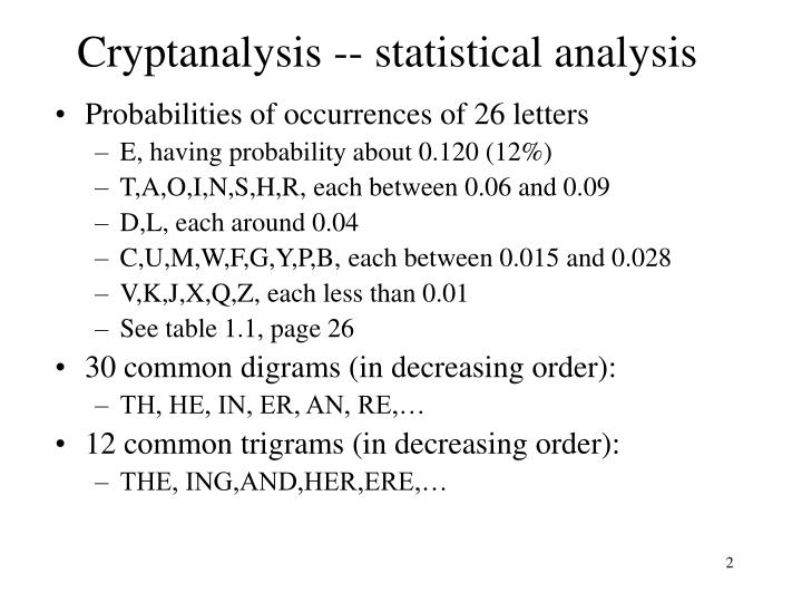 Cryptanalysis statistical analysis