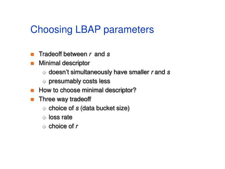 Choosing LBAP parameters