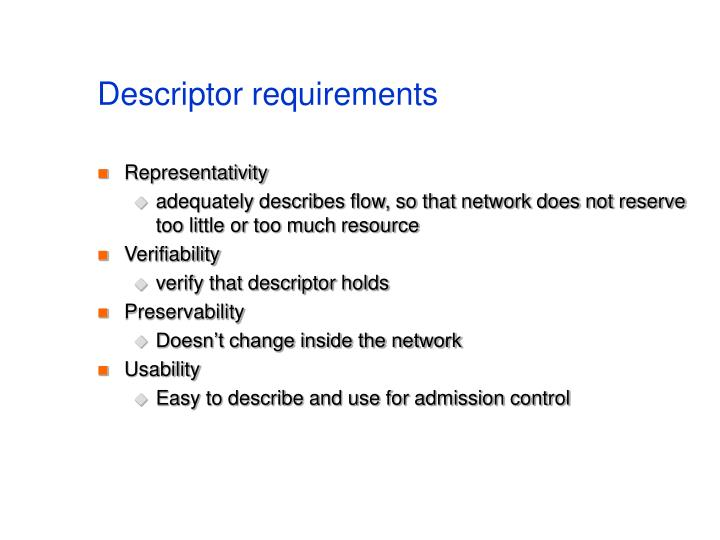 Descriptor requirements