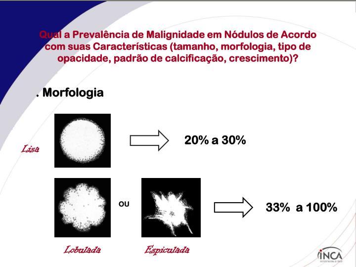 Qual a Prevalência de Malignidade em Nódulos de Acordo com suas Características (tamanho, morfologia, tipo de opacidade, padrão de calcificação, crescimento)?