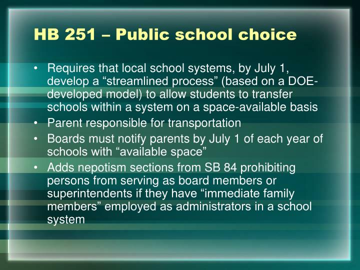 HB 251 – Public school choice