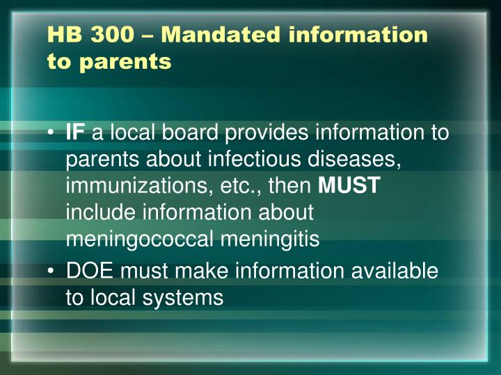 HB 300 – Mandated information to parents