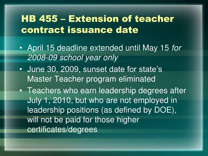HB 455 – Extension of teacher contract issuance date