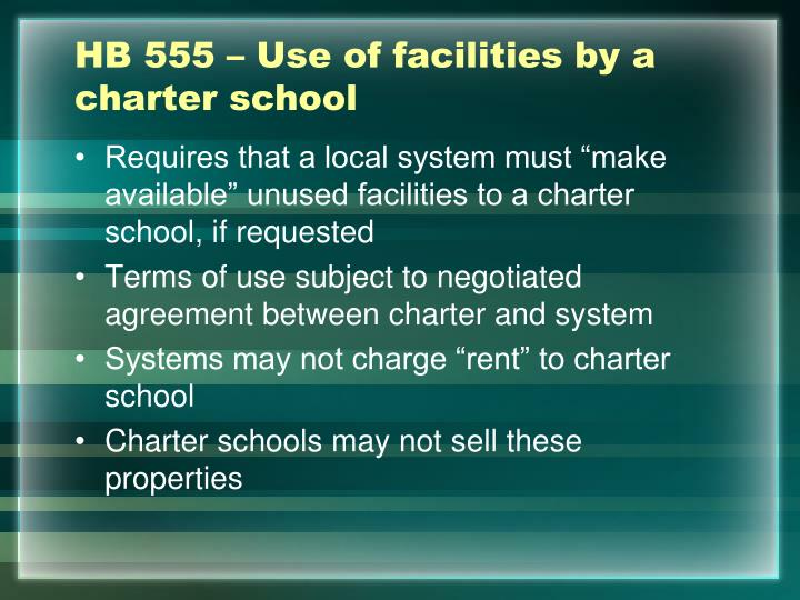 HB 555 – Use of facilities by a charter school