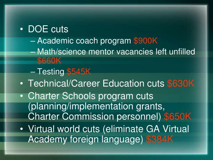 DOE cuts
