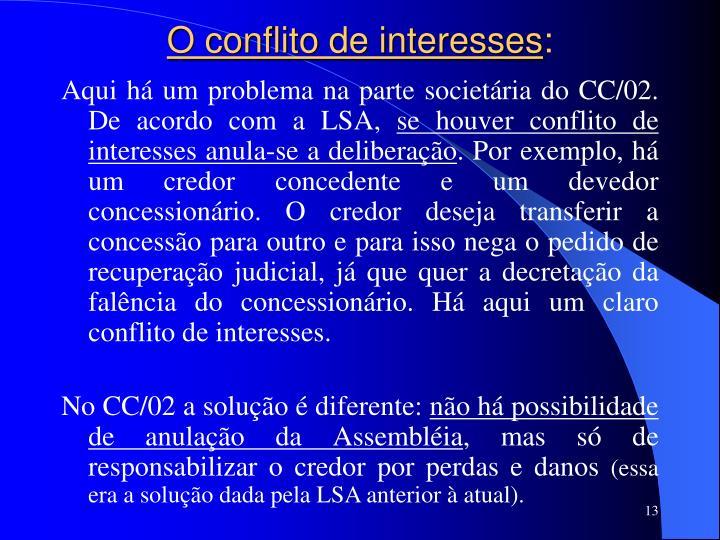 O conflito de interesses