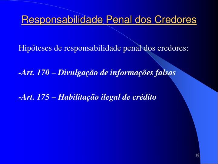 Responsabilidade Penal dos Credores