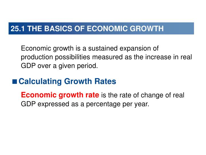 25.1 THE BASICS OF ECONOMIC GROWTH