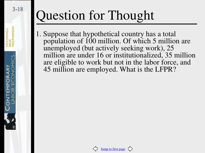 1. Suppose that hypothetical country has a total population of 100 million. Of which 5 million are unemployed (but actively seeking work), 25 million are under 16 or institutionalized, 35 million are eligible to work but not in the labor force, and  45 million are employed. What is the LFPR?
