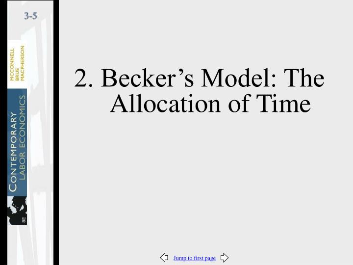 2. Becker's Model: The Allocation of Time