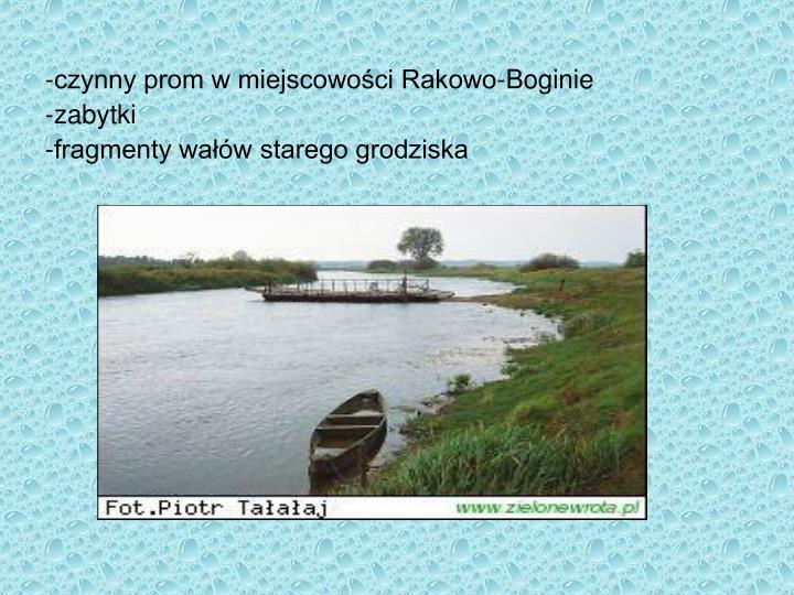 -czynny prom w miejscowości Rakowo-Boginie