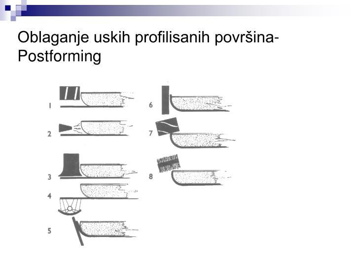 Oblaganje uskih profilisanih površina- Postforming