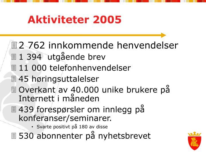 Aktiviteter 2005