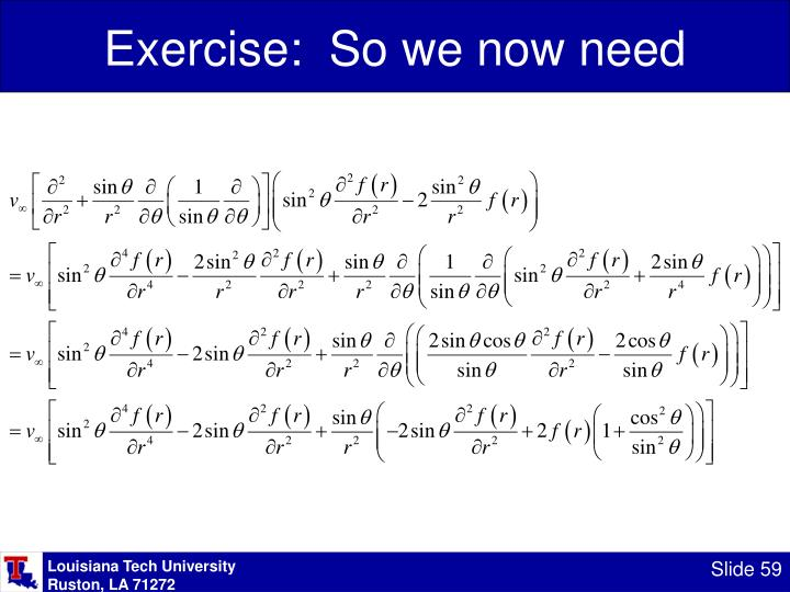Exercise:  So we now need