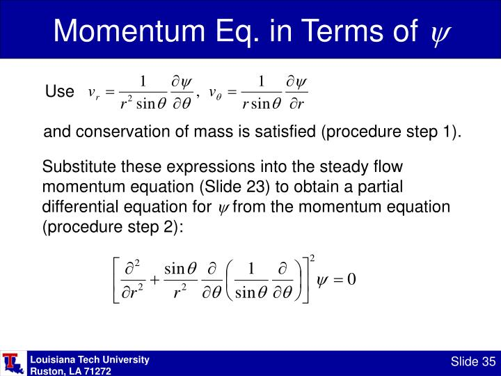 Momentum Eq. in Terms of