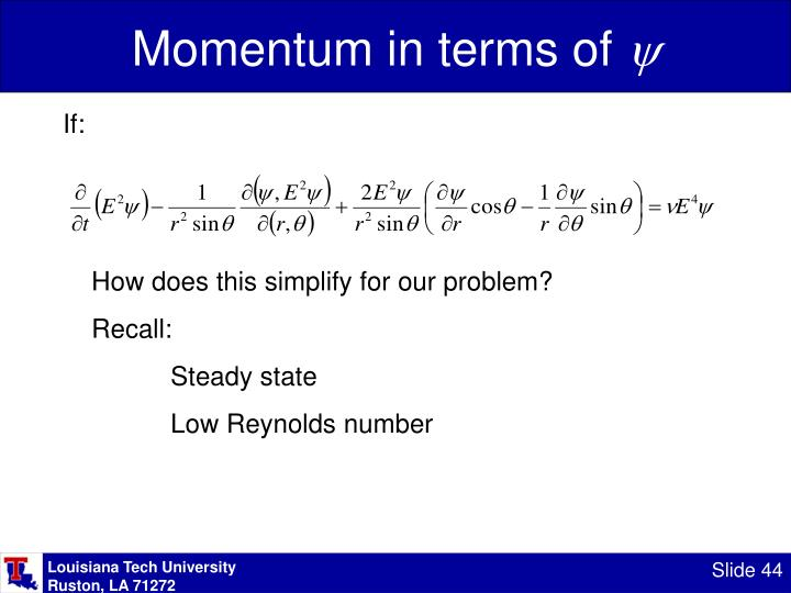 Momentum in terms of