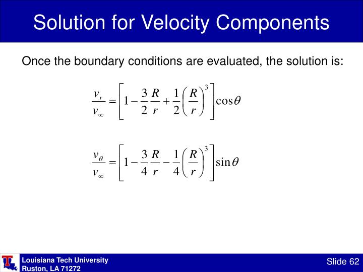 Solution for Velocity Components