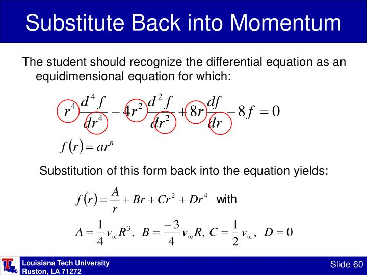 Substitute Back into Momentum