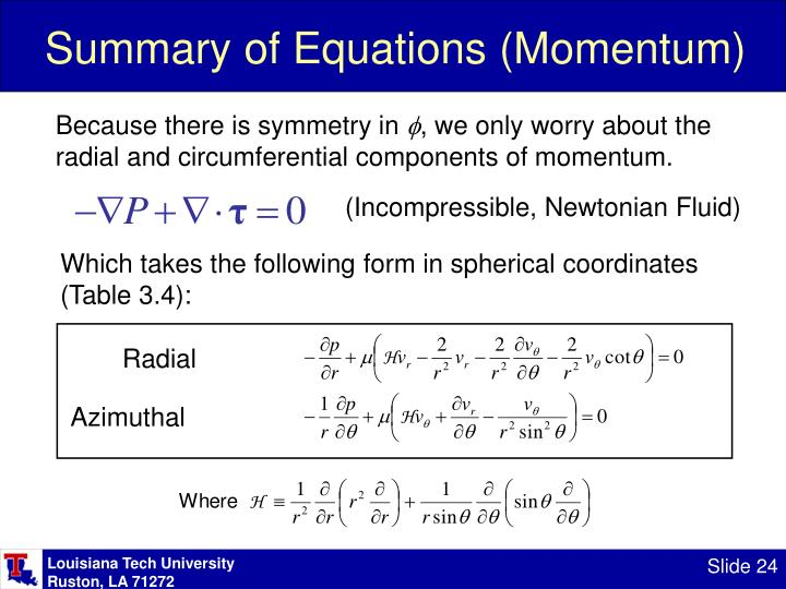 Summary of Equations (Momentum)