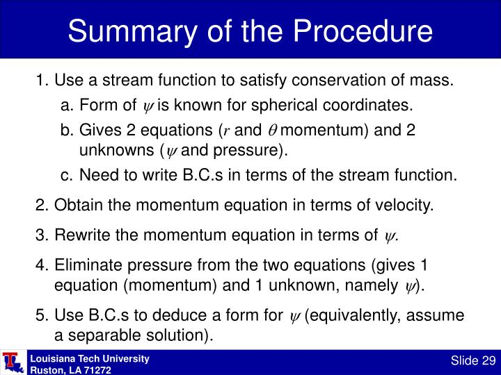Summary of the Procedure