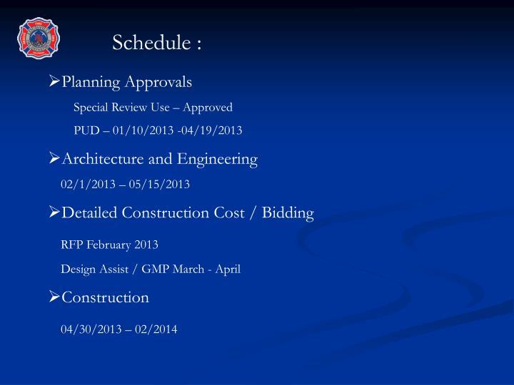 Schedule :