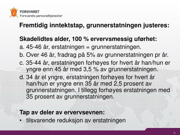 Fremtidig inntektstap, grunnerstatningen justeres: