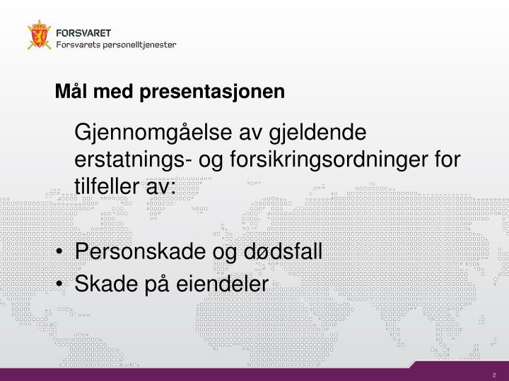 Mål med presentasjonen