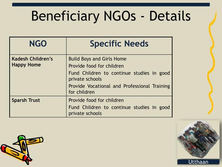 Beneficiary NGOs - Details