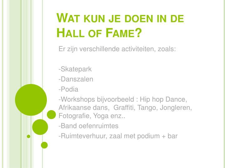 Wat kun je doen in de Hall of Fame?