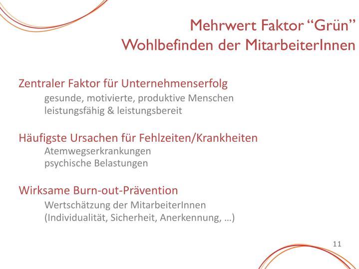"""Mehrwert Faktor """"Grün"""""""