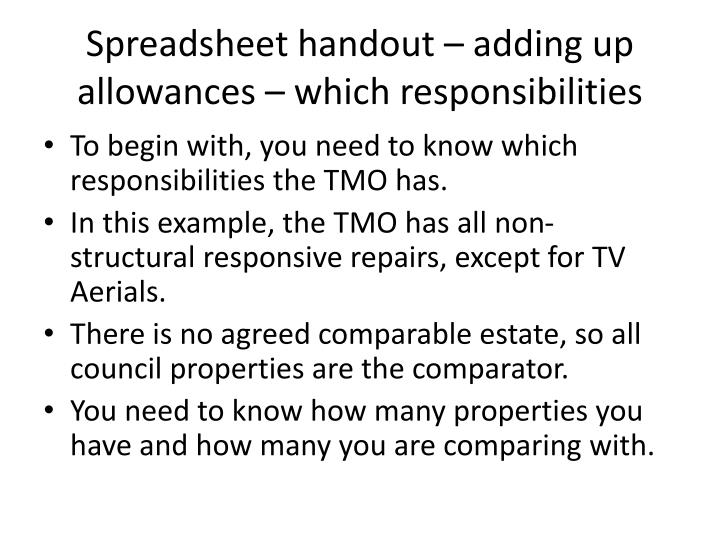 Spreadsheet handout – adding up allowances – which responsibilities