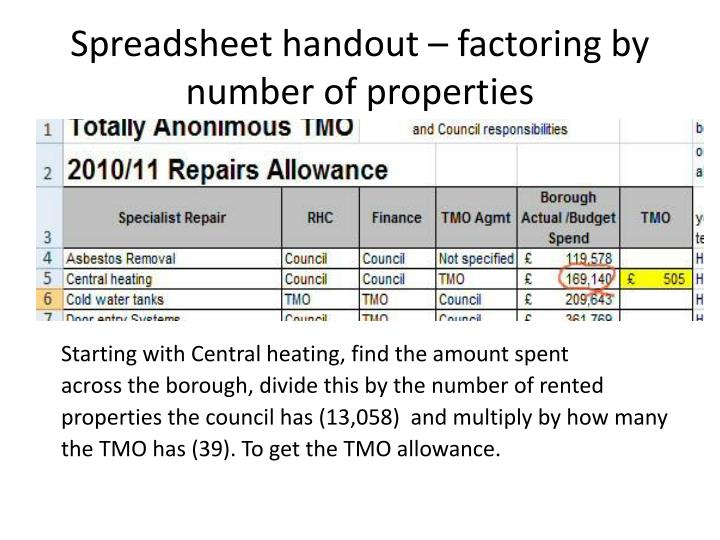 Spreadsheet handout – factoring by number of properties