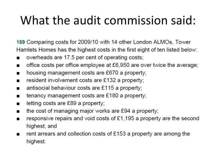 What the audit commission said: