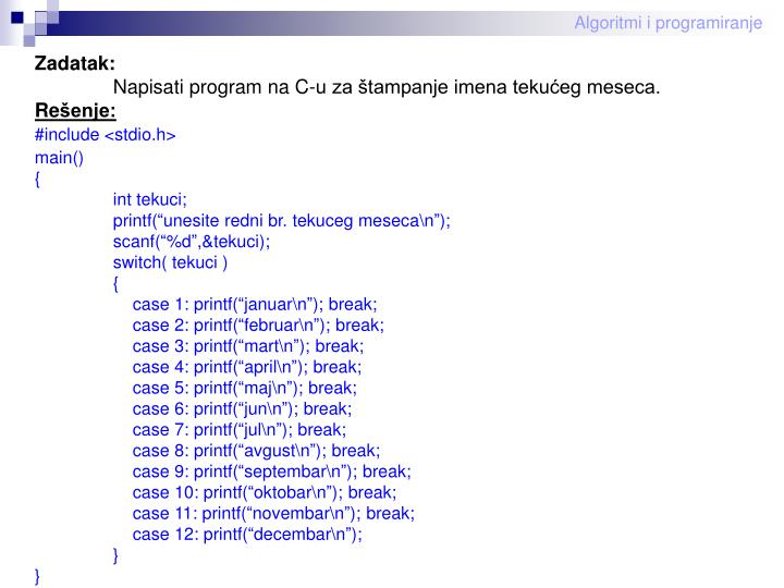 Algoritmi i programiranje