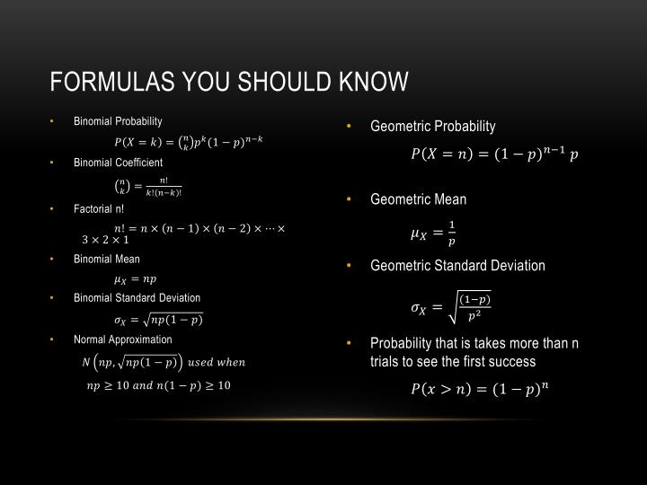Formulas You Should Know