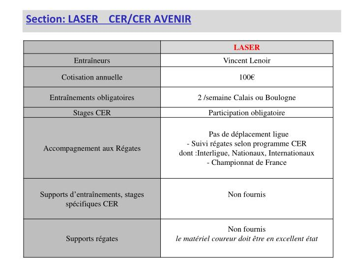 Section: LASER    CER/CER AVENIR