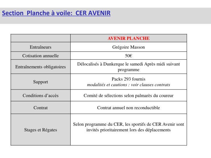 Section  Planche à voile:  CER AVENIR