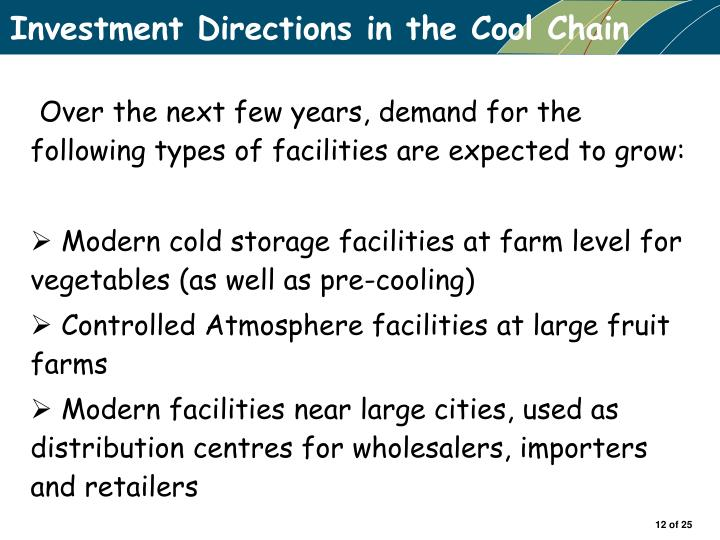 Investment Directions in the Cool Chain