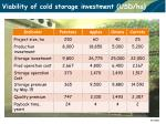 viability of cold storage investment usd ha