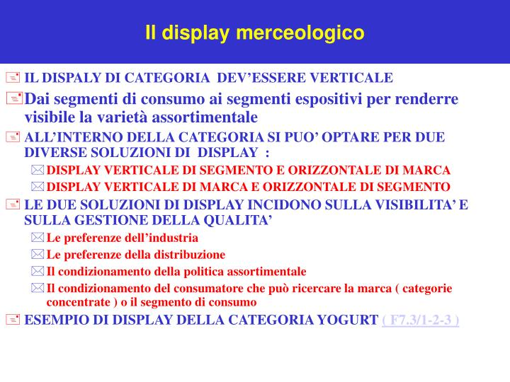 Il display merceologico