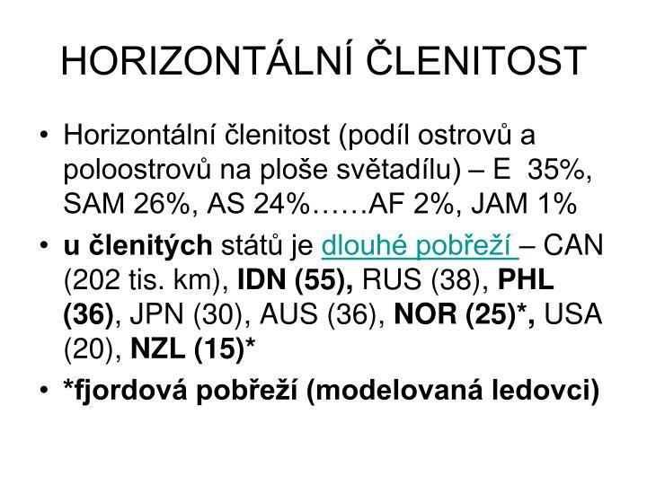 HORIZONTÁLNÍ ČLENITOST
