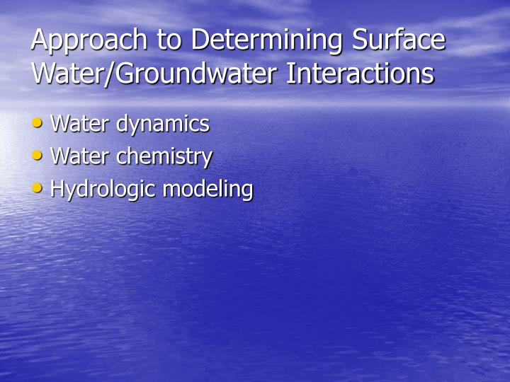 Approach to Determining Surface Water/Groundwater Interactions