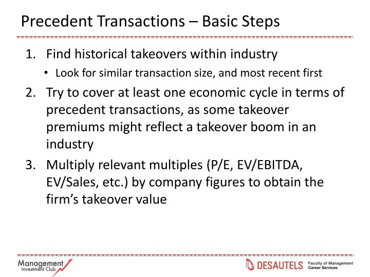 Precedent Transactions – Basic Steps