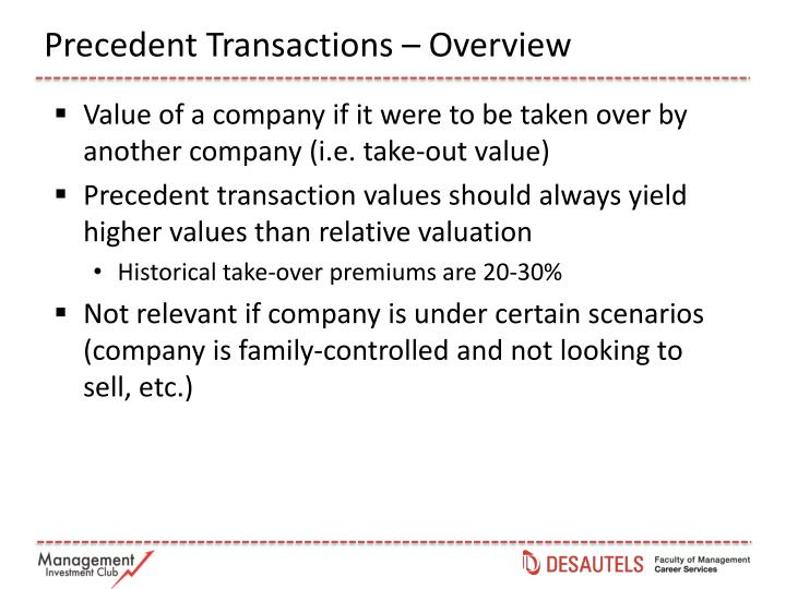 Precedent Transactions – Overview