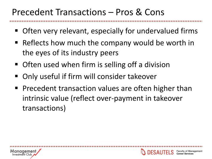 Precedent Transactions – Pros & Cons