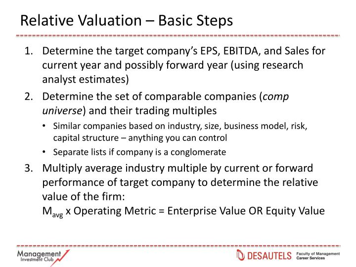 Relative Valuation – Basic Steps