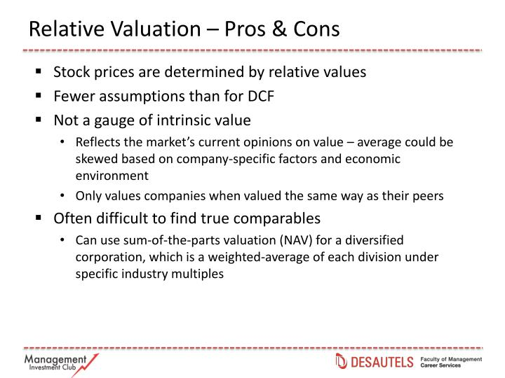 Relative Valuation – Pros & Cons