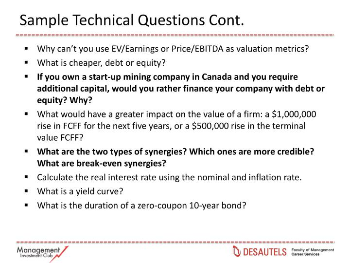 Sample Technical Questions Cont.