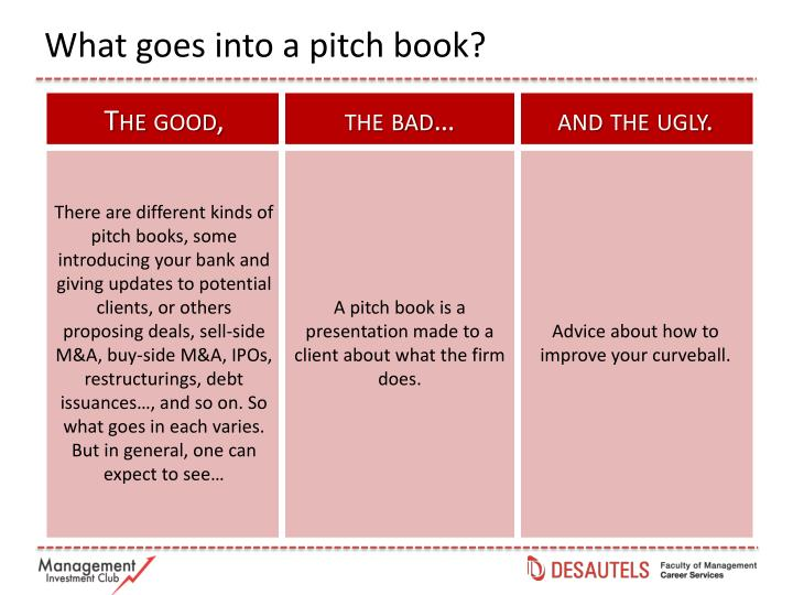What goes into a pitch book?