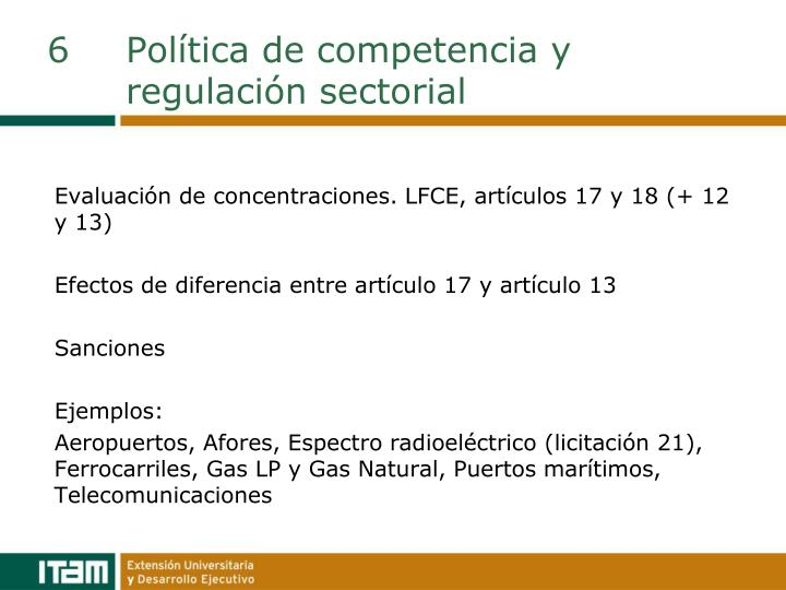 6Política de competencia y regulación sectorial